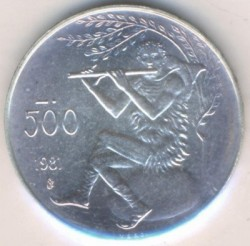 Münze > 500 Lire, 1981 - San Marino  (2000th Anniversary - Death of Virgil, Bucolics /Playing the Flute/) - obverse