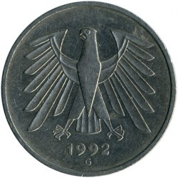 Coin > 5 mark, 1992 - Germany  - reverse