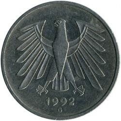 Münze > 5Mark, 1992 - Deutschland  - reverse