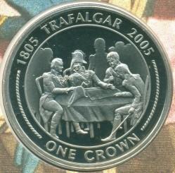 Moneta > 1corona, 2005 - Gibilterra  (200° anniversario della battaglia di Trafalgar - Consiglio di guerra) - reverse
