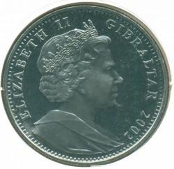 Moneta > 1corona, 2002 - Gibilterra  (50 ° anniversario - Adesione della regina Elisabetta II. Yacht Reale sotto il ponte della torre) - obverse