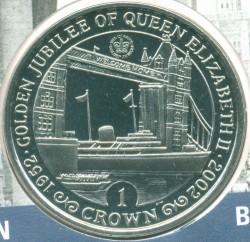 Moneta > 1corona, 2002 - Gibilterra  (50 ° anniversario - Adesione della regina Elisabetta II. Yacht Reale sotto il ponte della torre) - reverse