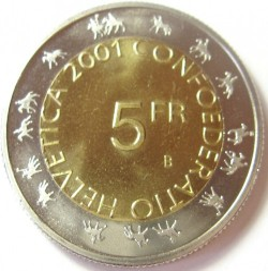 Монета > 5франків, 2001 - Швейцарія  (Проводи зими в Цюріху (Парад гільдій)) - obverse
