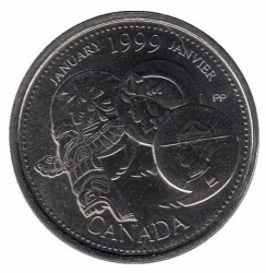 Coin > 25cents, 1999 - Canada  (January 1999, A Country Unfolds) - reverse