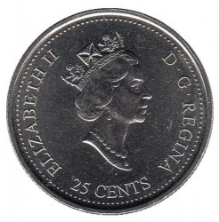 Coin > 25 cents, 1999 - Canada  (June 1999, From Coast to Coast) - obverse
