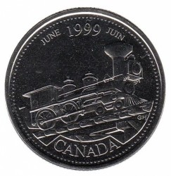 Coin > 25 cents, 1999 - Canada  (June 1999, From Coast to Coast) - reverse