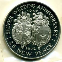 Moneta > 25nuovipence, 1972 - Gibilterra  (25° Anniversario - Matrimonio della Regina Elisabetta II e del Principe Filippo) - reverse
