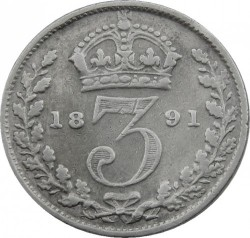 Coin > 3pence, 1887-1893 - United Kingdom  - reverse
