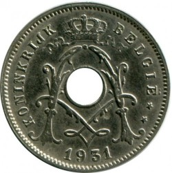 Moeda > 5cêntimos, 1930-1931 - Bélgica  - reverse