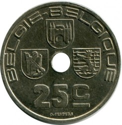 "Minca > 25centimes, 1938 - Belgicko  (Nadpis - ""BELGIE-BELGIQUE"") - obverse"