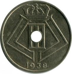 """Minca > 25centimes, 1938 - Belgicko  (Nadpis - """"BELGIE-BELGIQUE"""") - reverse"""