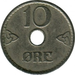 Moneda > 10ore, 1941 - Noruega  (Forma: redonda con agujero) - obverse