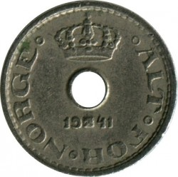 Moneda > 10ore, 1941 - Noruega  (Forma: redonda con agujero) - reverse