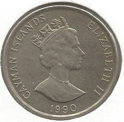 Coin > 25 cents, 1987-1990 - Cayman Islands  - reverse