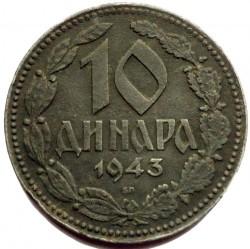 Moneta > 10dinarów, 1943 - Serbia  - reverse