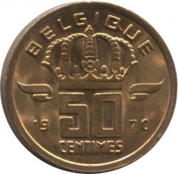 Coin > 50 centimes, 1970 - Belgium  (Legend in French - 'BELGIQUE') - reverse