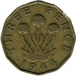 錢幣 > 3便士, 1937-1948 - 英國  (Nickel-Brass /yellow color/) - obverse