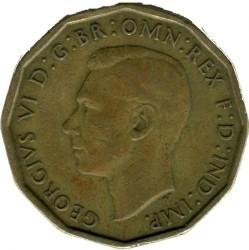 錢幣 > 3便士, 1937-1948 - 英國  (Nickel-Brass /yellow color/) - reverse