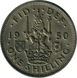 錢幣 > 1先令, 1949-1951 - 英國  (Scottish crest, lion seated face-on atop the crown) - obverse