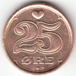 Münze > 25Öre, 1990-2008 - Dänemark   - obverse