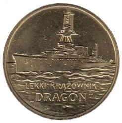 "Moneda > 2zlote, 2012 - Polonia  (Polish Ships – Light Cruiser ""Dragon"") - reverse"
