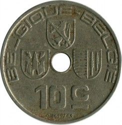 Minca > 10centimes, 1938-1939 - Belgicko  (Legend - 'BELGIQUE - BELGIE') - obverse