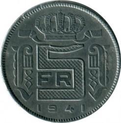 Munt > 5francs, 1941-1946 - Belgie  (Legend in Dutch - 'DER BELGEN') - reverse