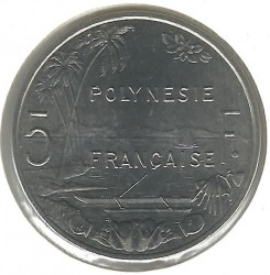 سکه > 5فرانک, 1975-2018 - پولینزی فرانسه  - obverse