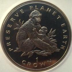 Moneta > 1corona, 1995 - Gibilterra  (Preservare il pianeta terra - Bertuccia di Barberia) - reverse