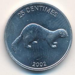 Մետաղադրամ > 25սամտիմ, 2002 -  Կոնգոյի Դեմոկրատական Հանրապետություն  (Animal - Weasel) - reverse