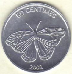 Մետաղադրամ > 50սամտիմ, 2002 -  Կոնգոյի Դեմոկրատական Հանրապետություն  (Animal - Butterfly) - reverse