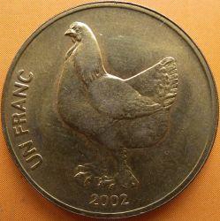 Մետաղադրամ > 1ֆրանկ, 2002 -  Կոնգոյի Դեմոկրատական Հանրապետություն  (Animal - Cock) - reverse
