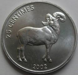 Մետաղադրամ > 25սամտիմ, 2002 -  Կոնգոյի Դեմոկրատական Հանրապետություն  (Animal - Barbary Sheep) - reverse