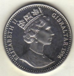 Moneta > 1corona, 1996 - Gibilterra  (X Campionato europeo di calcio UEFA, Inghilterra 1996 - Portiere) - obverse