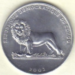 Մետաղադրամ > 50սամտիմ, 2002 -  Կոնգոյի Դեմոկրատական Հանրապետություն  (Animal - Gorilla) - obverse