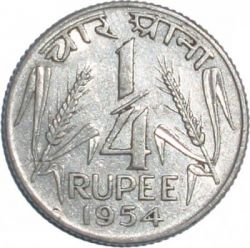 Coin > ¼ rupee, 1954-1956 - India  - obverse