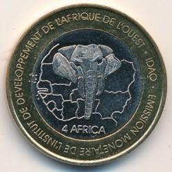 Монета > 6000франков, 2003 - Буркина Фасо  (Носорог и Желтоклювый буйволовый скворец) - reverse