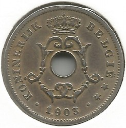 Minca > 10centimes, 1902-1903 - Belgicko  (Legend in Dutch - 'BELGIË') - obverse