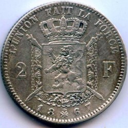 Minca > 2francs, 1866-1868 - Belgicko  - reverse