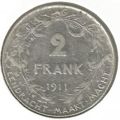 Coin > 2francs, 1911-1912 - Belgium  (Legend in Dutch - 'ALBERT KONING DER BELGEN') - reverse