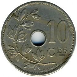 "Minca > 10centimes, 1904-1906 - Belgicko  (Názov vo francúzštine - ""BELGIQUE"") - obverse"