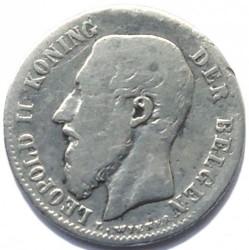 "Moneda > 50centimes, 1886-1899 - Bèlgica  (Llegenda en holandès - ""DER BELGEN"") - obverse"