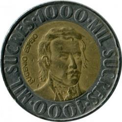 錢幣 > 1000蘇克雷, 1996 - 厄瓜多  - obverse