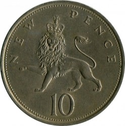 Coin > 10 new pence, 1969 - United Kingdom  - obverse