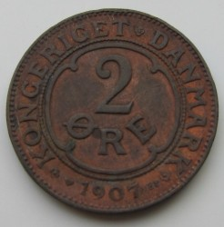 Coin > 2ore, 1907 - Denmark  - reverse