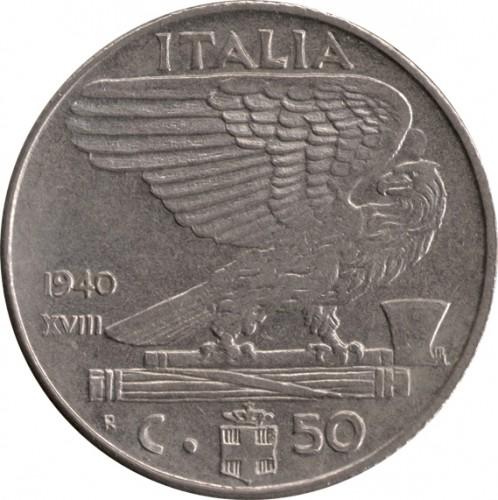 Italia 50 centesimi 1939 1940 km 76a catalogo for Moneta 50 centesimi