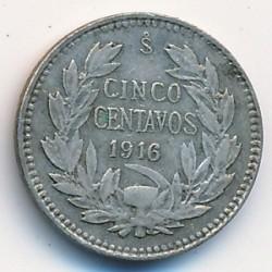 Кованица > 5центи, 1915-1919 - Чиле  - reverse