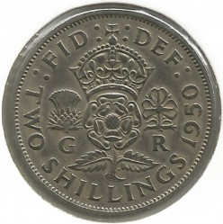 Coin > 2 shillings (florin), 1950 - United Kingdom  - reverse