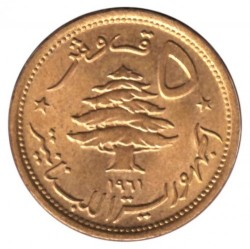 Монета > 5піастрів, 1955-1961 - Ліван  - obverse