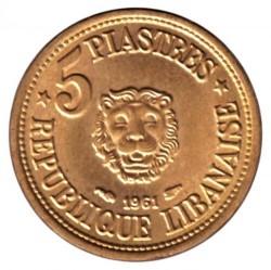 Монета > 5піастрів, 1955-1961 - Ліван  - reverse